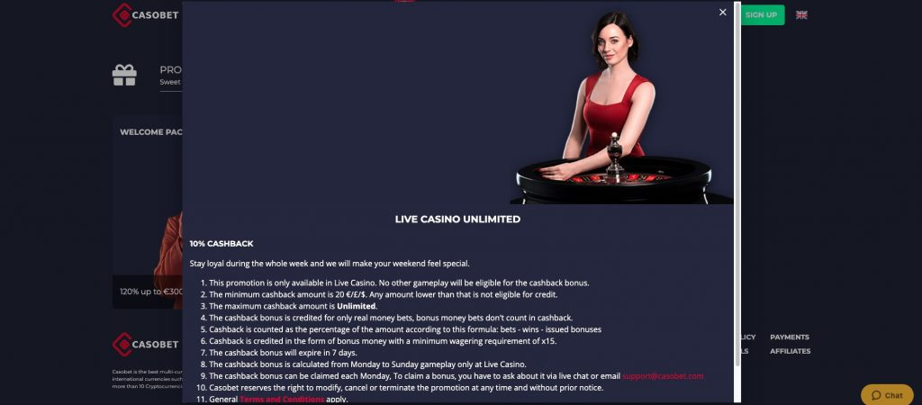 Casobet Casino - Live Casino Unlimited 10% Cashback