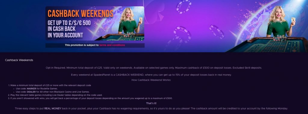 Spades Planet Casino - Cashback Weekends up to £500!
