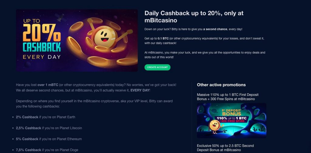 mBit Casino- Daily Cashback up to 20%, only at mBitcasino